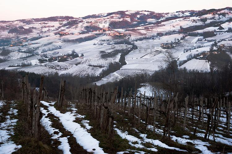 Paesaggio invernale dell'Oltrepo Pavese presso Montecalvo Versiggia (provincia di Pavia) --- Winter landscape of the Oltrepò Pavese near Montecalvo Versiggia (province of Pavia)
