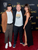 "LOS ANGELES, USA. July 10, 2019: Hans Zimmer, Jake Zimmer & Zoe Zimmer at the world premiere of Disney's ""The Lion King"" at the Dolby Theatre.<br /> Picture: Paul Smith/Featureflash"