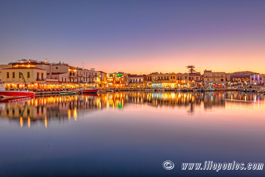 The Sunset at Rethymno's Venetian Harbour in Crete, Greece