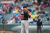 Albuquerque Isotopes starting pitcher Sam Howard (32) looks to the plate against the Salt Lake Bees at Smith's Ballpark on April 8, 2018 in Salt Lake City, Utah. Albuquerque defeated Salt Lake 11-4. (Stephen Smith/Four Seam Images)