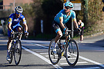 Jakob Fuglsang (DEN) Astana Pro Team and Julian Alaphilippe (FRA) Deceuninck-Quick Step in the final kilometres of Strade Bianche 2019 running 14km from Siena to Siena, held over the white gravel roads of Tuscany, Italy. 9th March 2019.<br /> Picture: Eoin Clarke   Cyclefile<br /> <br /> <br /> All photos usage must carry mandatory copyright credit (© Cyclefile   Eoin Clarke)