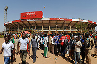 BURKINA FASO, capital Ouagadougou, reception of the national football team of Burkina Faso as 2nd winner of the Africa Cup 2013 in Stadium in Ougadougou