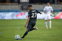 SAN JOSE, CA - OCTOBER 03: Marcos Lopez #27 of the San Jose Earthquakes kicks a ball during a game between Los Angeles Galaxy and San Jose Earthquakes at Earthquakes Stadium on October 03, 2020 in San Jose, California.