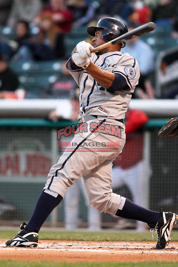 April 27, 2009:  Emil Brown of the Portland Beavers, Pacific Cost League Triple A affiliate of the San Diego Padres, during a game at the Spring Mobile Ballpark in Salt Lake City, UT.  Photo by:  Matthew Sauk/Four Seam Images