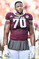 Texas A&M offensive lineman Cedric Ogbuehi (70) before NCAA Football game kickoff, Saturday, September 06, 2014 in College Station, Tex.(Mo Khursheed/TFV Media via AP Images)