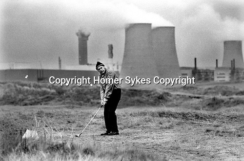 Windscale and Calder Nuclear processing plant 1980s Cumbria UK. British Nuclear Fuels. Formally known as Sellafield, the so called toxic golf course. 1983.<br /> <br /> My ref 24/4548/, 1983