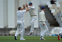 Mark Chapman congratulates Matt McEwan on his dismissal of Wellington's Rachin Ravendra during day two of the Plunket Shield cricket match between the Wellington Firebirds and Auckland at Basin Reserve in Wellington, New Zealand on Saturday, 9 November 2019. Photo: Dave Lintott / lintottphoto.co.nz