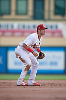 Palm Beach Cardinals shortstop Zack Gahagan (37) during a Florida State League game against the Clearwater Threshers on August 11, 2019 at Roger Dean Chevrolet Stadium in Jupiter, Florida.  Palm Beach defeated Clearwater 4-1.  (Mike Janes/Four Seam Images)