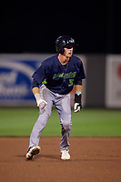 Vermont Lake Monsters Logan Davidson (3) leads off second base during a NY-Penn League game against the Aberdeen IronBirds on August 19, 2019 at Leidos Field at Ripken Stadium in Aberdeen, Maryland.  Aberdeen defeated Vermont 6-2.  (Mike Janes/Four Seam Images)
