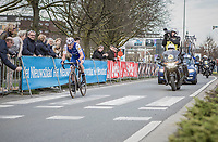 Yves Lampaert (BEL/Quick Step Floors) solo on his way to the finish line in Waregem with less then 2km to go<br /> <br /> 72nd Dwars door Vlaanderen 2017