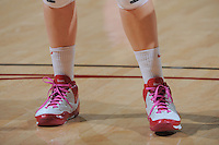 STANFORD, CA - FEBRUARY 14:  Pink laces worn by forward Kayla Pedersen #14 of the Stanford Cardinal during Stanford's 58-41 win against the California Golden Bears on February 14, 2009 at Maples Pavilion in Stanford, California.