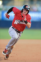 Frisco Rough Riders third baseman Ryan Rua (9) during the second game of a doubleheader against the Tulsa Drillers on May 29, 2014 at ONEOK Field in Tulsa, Oklahoma.  Frisco defeated Tulsa 3-2.  (Mike Janes/Four Seam Images)