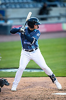 West Michigan Whitecaps third baseman Spencer Torkelson (8) at bat against the Great Lakes Loons at LMCU Ballpark on May 11, 2021 in Comstock Park, Michigan. The Loons defeated the Whitecaps in their home opener 9-1. (Andrew Woolley/Four Seam Images)
