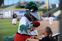 Great Lakes Loons mascot Lou E. Loon takes the hat of Chris Anderson (30) during a game against the Fort Wayne TinCaps on August 19, 2013 at Dow Diamond in Midland, Michigan.  Great Lakes defeated Fort Wayne 12-5.  (Mike Janes/Four Seam Images)