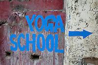 India, Rishikesh.  Yoga School Sign.