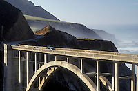 Route 1, bridge, Big Sur, California, CA, Scenic view of Bixby Creek Bridge on Highway 1 along the high cliffs of the Pacific Ocean in Big Sur.
