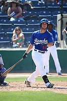 Garrett Kennedy (23) of the Rancho Cucamonga Quakes bats against the Stockton Ports at LoanMart Field on May 28, 2017 in Rancho Cucamonga, California. Stockton defeated Rancho Cucamonga, 7-4. (Larry Goren/Four Seam Images)