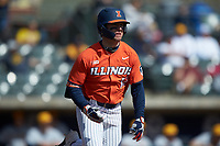 Brody Harding (12) of the Illinois Fighting Illini hustles down the first base line against the West Virginia Mountaineers at TicketReturn.com Field at Pelicans Ballpark on February 23, 2020 in Myrtle Beach, South Carolina. The Fighting Illini defeated the Mountaineers 2-1.  (Brian Westerholt/Four Seam Images)