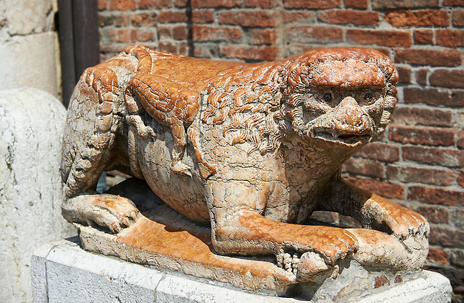 Mythical creature statue from the destoyed south door of the 12th century Romanesque Ferrara Duom, Italy
