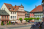 Germany; Bavaria; Lower Franconia; Miltenberg: café at market square   Deutschland; Bayern; Franken (Unterfranken); Miltenberg: Café am Marktplatz