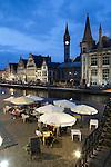 Belgium, Oost Vlaanderen, Ghent: Evening restaurant scene along the Graslei