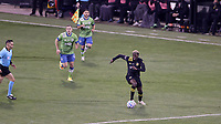 COLUMBUS, OH - DECEMBER 12: Gyasi Zardes #11 of the Columbus Crew runs up the field with the ball during a game between Seattle Sounders FC and Columbus Crew at MAPFRE Stadium on December 12, 2020 in Columbus, Ohio.