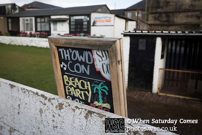 Bacup Borough 4 Holker Old Boys 1, 25/04/2016. Brain Boys West View Stadium, NorthWest Counties League Division One. A chalkboard advertising sign inside the Brain Boys West View Stadium before Bacup Borough play Holker Old Boys in a NorthWest Counties League division one fixture. Formed as Bacup in 1879, the club moved into their current home in 1889 and have been known as Bacup Borough since the 1920s, apart from a brief recent spell when they added the name Rossendale to their name. With both teams challenging for play-off places, Bacup Borough won this fixture by 4-1, watched by a crowd of 50. Photo by Colin McPherson.