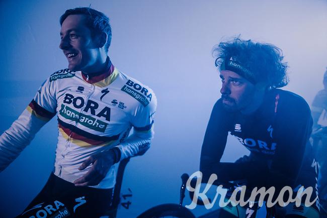 German National Champion Marcus Burghardt (DEU/BORA-hansgrohe) & Daniel Oss (ITA/BORA-hansgrohe) at the pre-race team presentation in the legendary Kuipke Velodrome<br /> <br /> Omloop Het Nieuwsblad 2018<br /> Gent › Meerbeke: 196km (BELGIUM)