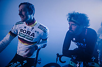 German National Champion Marcus Burghardt (DEU/BORA-hansgrohe) & Daniel Oss (ITA/BORA-hansgrohe) at the pre-race team presentation in the legendary Kuipke Velodrome<br /> <br /> Omloop Het Nieuwsblad 2018<br /> Gent › Meerbeke: 196km (BELGIUM)