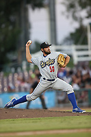 Sven Schueller (50) of the Rancho Cucamonga Quakes pitches against the Inland Empire 66ers at San Manuel Stadium on July 29, 2017 in San Bernardino, California. Inland Empire defeated Rancho Cucamonga, 6-4. (Larry Goren/Four Seam Images)