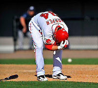 12 March 2011: Washington Nationals' outfielder Bryce Harper displays obvious pain after getting hit by a pitch during a Spring Training game against the New York Yankees at Space Coast Stadium in Viera, Florida. The Nationals edged out the Yankees 6-5 in Grapefruit League action. Mandatory Credit: Ed Wolfstein Photo