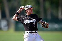 Jake Fox (7) during the WWBA World Championship at Terry Park on October 8, 2020 in Fort Myers, Florida.  Jake Fox, a resident of Plant City, Florida who attends Lakeland Christian High School, is committed to Florida.  (Mike Janes/Four Seam Images)