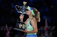 January 1, 2020: 14th seed SOFIA KENIN (USA) kisses the trophy after defeating GARBIÑE MUGURUZA (ESP) on Rod Laver Arena in the Women's Singles Final match on day 13 of the Australian Open 2020 in Melbourne, Australia. Photo Sydney Low. Kenin won 46 62 62