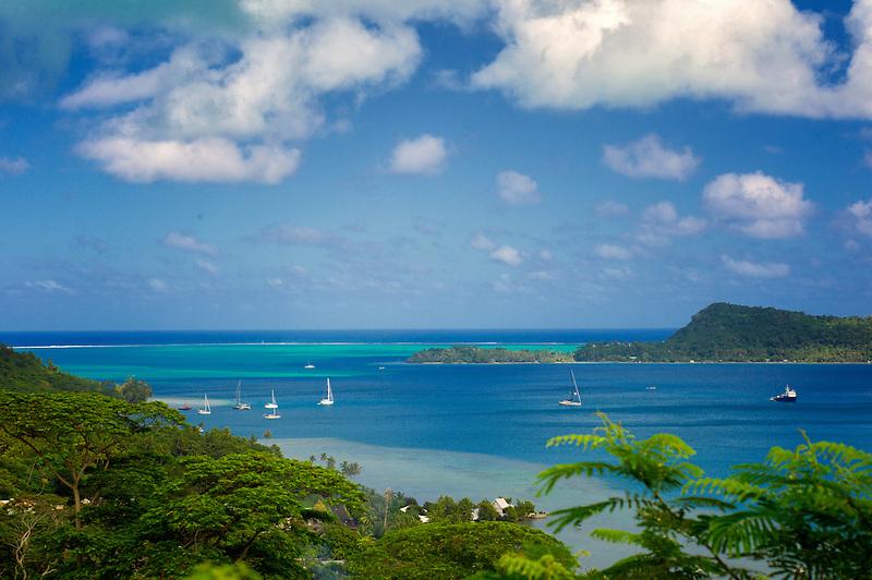 Boats in bay. Bora Bora. French Polynesia