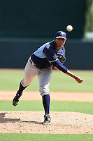 Tampa Bay Rays pitcher Enderson Franco (83) during an Instructional League game against the Baltimore Orioles on September 15, 2014 at Ed Smith Stadium in Sarasota, Florida.  (Mike Janes/Four Seam Images)