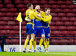 St Johnstone v Hibs…23.01.21   Hampden     BetFred Cup Semi-Final<br />Shaun Rooney celebrates his goal with David Wotherspoon and Liam Gordon<br />Picture by Graeme Hart.<br />Copyright Perthshire Picture Agency<br />Tel: 01738 623350  Mobile: 07990 594431