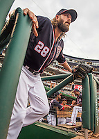 22 July 2016: Washington Nationals outfielder Jayson Werth emerges from the dugout to take the field prior to the start of play against the San Diego Padres at Nationals Park in Washington, DC. The Padres defeated the Nationals 5-3 to take the first game of their 3-game, weekend series. Mandatory Credit: Ed Wolfstein Photo *** RAW (NEF) Image File Available ***
