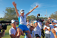 6th September 2021: Toledo, Ohio, USA;  Team Europe lifts up captain Catriona Matthews after winning the Solheim Cup on September 6, 2021 at Inverness Club in Toledo, Ohio.   Europe retained the Solheim Cup with a hard-fought 15-13 victory over the United States