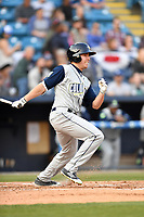 Columbia Fireflies right fielder Raphael Gladu (28) swings at a pitch during a game against the Asheville Tourists at McCormick Field on April 12, 2018 in Asheville, North Carolina. The Fireflies defeated the Tourists 7-5. (Tony Farlow/Four Seam Images)