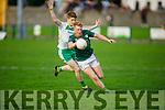 Jack Kennelly of Ballydonoghue effort hits the Finuge net in the Junior Premier Football Championship quarter finals.