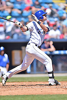 Asheville Tourists right fielder Sam Hilliard (25) swings at a pitch during a game against the Rome Braves at McCormick Field on April 17, 2016 in Asheville, North Carolina. The Tourists defeated the Braves 12-5. (Tony Farlow/Four Seam Images)