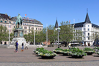 Denkmal KarlX.Gustav auf dem Stortorget in Malmö, Provinz Skåne (Schonen), Schweden, Europa<br /> monument of KarlXGustaf on Stortorget in Malmö, Sweden