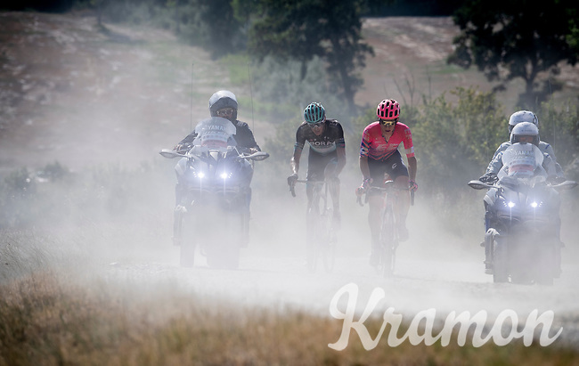 Lawson Craddock (USA/EF Education First) & Marcus Burghardt (DEU/BORA-hansgrohe)<br /> <br /> 14th Strade Bianche 2020<br /> Siena > Siena: 184km (ITALY)<br /> <br /> delayed 2020 (summer!) edition because of the Covid19 pandemic > 1st post-Covid19 World Tour race after all races worldwide were cancelled in march 2020 by the UCI