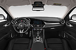 Stock photo of straight dashboard view of 2020 Alfaromeo Giulia Sprint 4 Door Sedan Dashboard