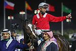 © February 19, 2021: ZHABI ALHAMMAD #12 is first past the post in the last round of the jockeys challenge with jockey  A. Alfouraidi on International Jockeys Challenge Day, King Abdulaziz Racecourse, Riyadh, Saudi Arabia. Shamela Hanley/Eclipse Sportswire