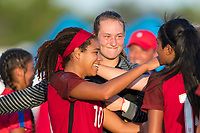 Bradenton, FL - Sunday, June 12, 2018: Mia Fishel, Angelina Anderson, celebration during a U-17 Women's Championship Finals match between USA and Mexico at IMG Academy.  USA defeated Mexico 3-2 to win the championship.