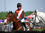 23 May 09:  Rider Padge Whelan and Lair check out one of the hurdles before The Valentine Memorial Sport of Queen's Stakes at the Fair Hill Steeplechase Races in Maryland
