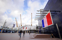 The French flag is projected onto a building outside of the O2 during Day One of the Barclays ATP World Tour Finals 2015 played at The O2, London on November 15th 2015