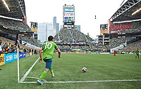 SEATTLE, WA - NOVEMBER 10: Seattle Sounders midfielder Nicolas Lodeiro #10 takes a comer kick during a game between Toronto FC and Seattle Sounders FC at CenturyLink Field on November 10, 2019 in Seattle, Washington.