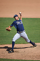 Tampa Bay Rays pitcher Brock Burke (27) during an instructional league game against the Baltimore Orioles on September 25, 2015 at Ed Smith Stadium in Sarasota, Florida.  (Mike Janes/Four Seam Images)